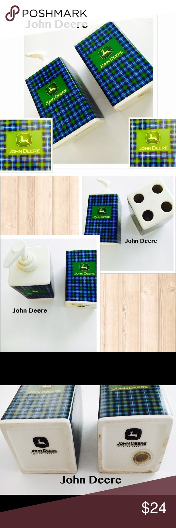 """John Deere Bathroom Accessories {2} Collectors Ed {Tooth Brush} and {Soap Dispenser}. Collectable John Deere accessories for the bathroom. Hard to find.   Came from a show home that was decorated in John Deere. Great used shape. Both stand about 5"""" tall   Thanks for looking! John Deere Other"""