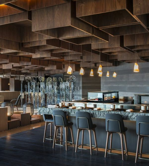 Les 25 meilleures id es de la cat gorie faux plafond sur pinterest faux plafond cuisine hotte for Deco restaurant design