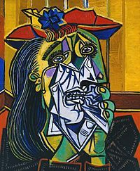 """""""Weeping Woman"""" by Pablo Picasso 1937. this artwork is composed of several different organic shapes with different colors as well."""