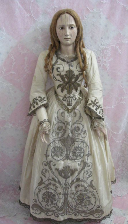 """Early 28"""" Wooden Doll circa 1720-1740 with original silk costume and flax hair in original ringlets Dolls And Lace.com"""