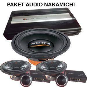 audio mobil nakamichi untuk sound quality stereo system. terdiri dari amplifier nakamichi. speaker nakamichi. subwoofer hertz