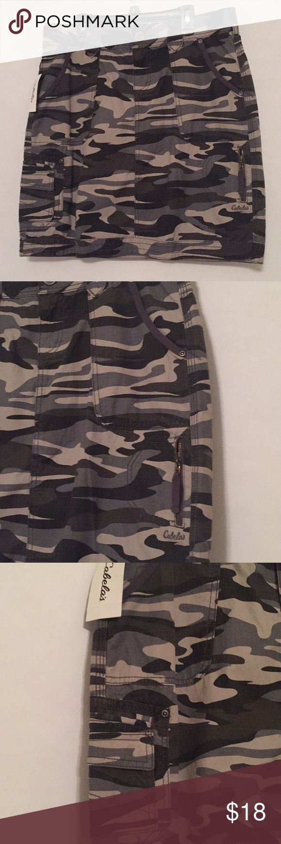 "🆕 Cabelas gray camo skirt Gray camo skirt from Cabelas. Patch pockets in front, zippered pocket on side front, cargo pocket on other side front, two back patch pockets. Bottom band, zip front, belt loops. 100% cotton. Waist 33"", length 19.5"". Awesome skirt! Cabelas Skirts Mini"