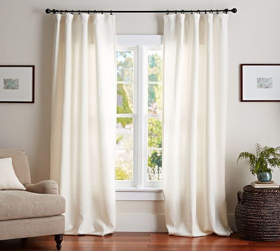 """Pottery Barn - Belgian Flax Linen Drape.  Available in Ivory, Natural, Gray, Glaciar Blue, Blue.  Available with or without blackout lining.  Three hanging options: pole pocket, hanging loops, ring top. Hooks included; rings and ring clips sold separately. 50""""W x 84""""L, 96""""L, 108""""L"""