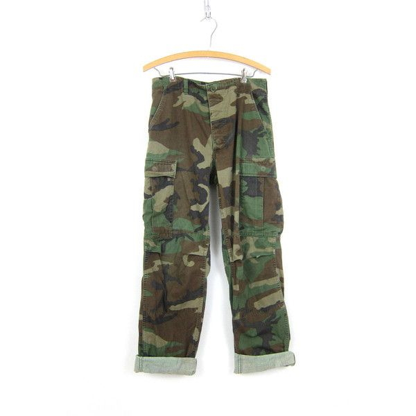 US Army Pants Vintage United States Military Cargo Trousers Camo Green... ❤ liked on Polyvore featuring pants, drawstring pants, cargo pants, army cargo pants, camouflage cargo pants and camo cargo pants