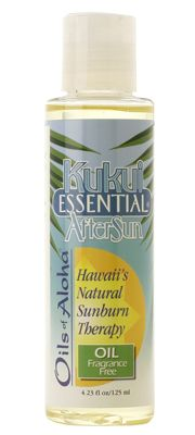 <p> Kukui Essential AfterSun Oil is the top of the line defense for extreme sunburns. This formulation is SOLaleur that in recent clinical studies has demonstrated suppressing erythema (redness) caused by sunburns and radiation burns. Use it before and immediately after too much sun exposure. Helps reduce redness, relieve itching and minimize peeling. Hypoallergenic. Also pr...