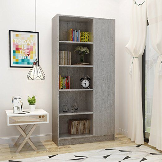 Annabelle Mid Century Grey Oak Finished Faux Wood Bookcase