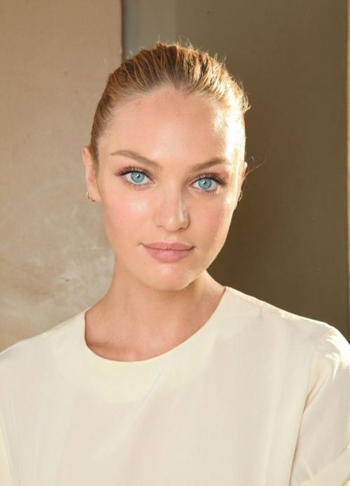 candice swanepoel black mascara pink lips and nude
