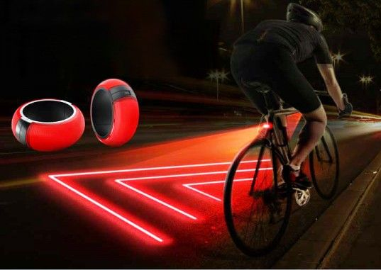 Bike Zone Lite, soon to be in production.  shows safe zone around cyclist and can indicate left or right turns.