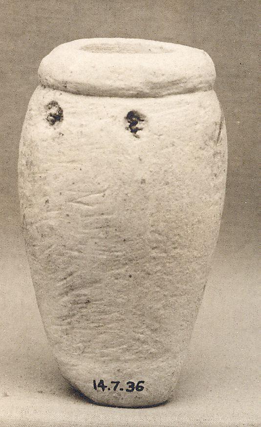 Miniature vessel of Perneb Period: Old Kingdom Dynasty: Dynasty 5 Reign: reign of Isesi–Unis Date: ca. 2381–2323 B.C. Geography: From Egypt, Memphite Region, Saqqara; includes the Serapeum, Tomb of Perneb, MMA 1913–1914 Medium: Limestone Dimensions: H: 7 cm (2 3/4 in.)