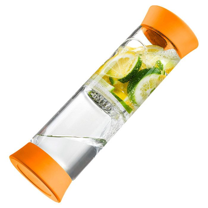 Jersey Flip Infuser in Orange - Toss this infuser into your satchel or gym bag for flavored water on the go! Try cucumber and mint for a refreshing pick-me-up, or throw in a mix of citrus for a pop of vitamin C.