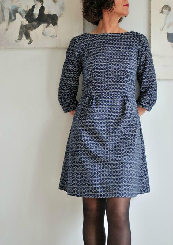Robe Peony - Colette Patterns  Garde idée pour Anna dress avec manches longues et ceinture obi - tissu lainage