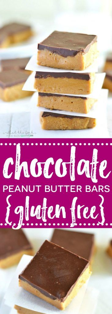 No-Bake Gluten Free Chocolate Peanut Butter Bars taste like a peanut butter cup and are insanely easy to make! Dairy free option. | Recipe from @whattheforkblog | whattheforkfoodblog.com