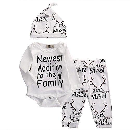 Baby Boy Girl 3pcs Christmas Suit Deer Word Print Long Sleeve RomperLong PantsHat (0-3months White)