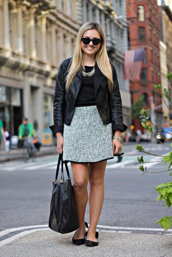Black Moto Jacket, Black and White Printed Skirt