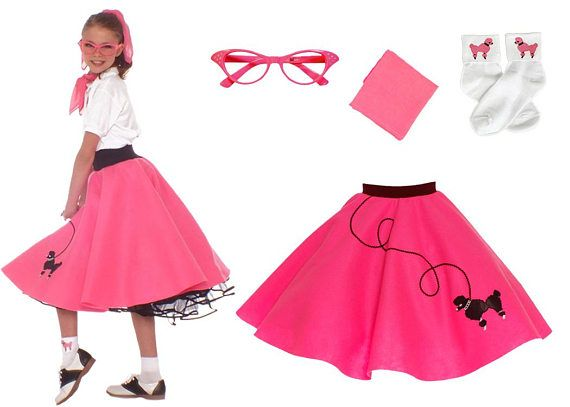 4 Pc SMALL Child 6 50s Poodle Skirt OUTFIT