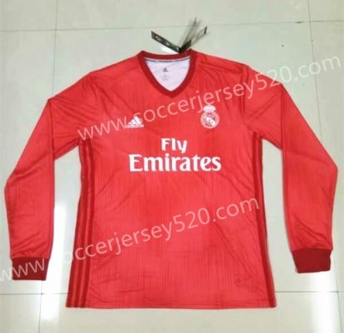 uk availability 4a936 548d0 2018-19 Real Madrid 2nd Away Red LS Thailand Soccer Jersey ...