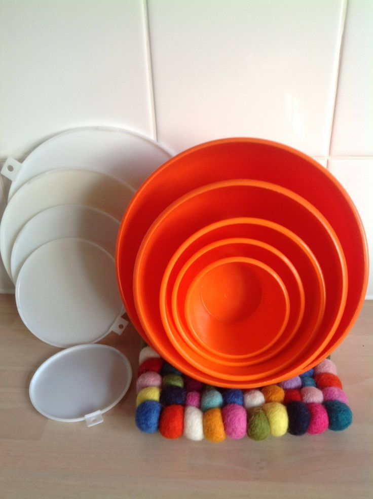 Bowls orange 70s midcentury stacking 5 with lids plastic Tupperware style by ReworkedHomewares on Etsy