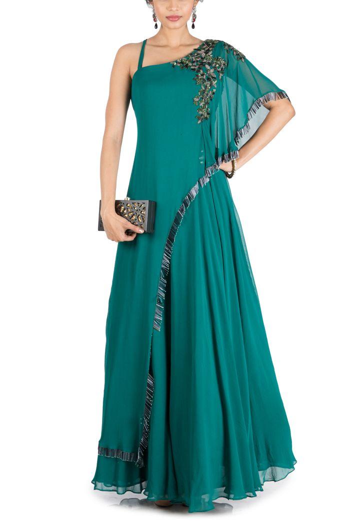 Online Fashion Store| Designer Clothing -Smritiapparels.com. Teal Green One Side Cape Flare Gown - @Smritiapparels.com