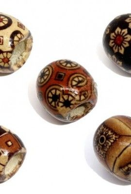 Housweety-100-Mixed-Painted-Drum-Wood-Spacer-Beads-17x16mm-0