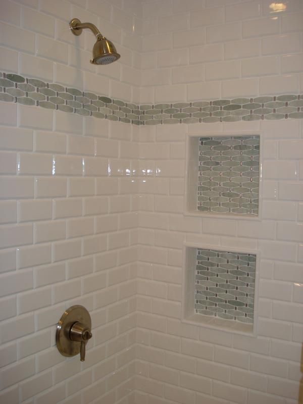 accent tile bathroom nicheshower