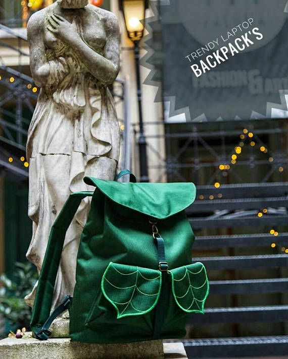 CUSTOM  Laptop Backpack Green Bag College Backpack Waterproof