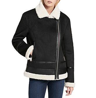Calvin Klein Moto Faux Sherpa Jacket