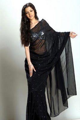 Designer Saree | Bollywood Saree | Bridal Saree: Vedika in Black Saree & Halter Neck Saree Blouse