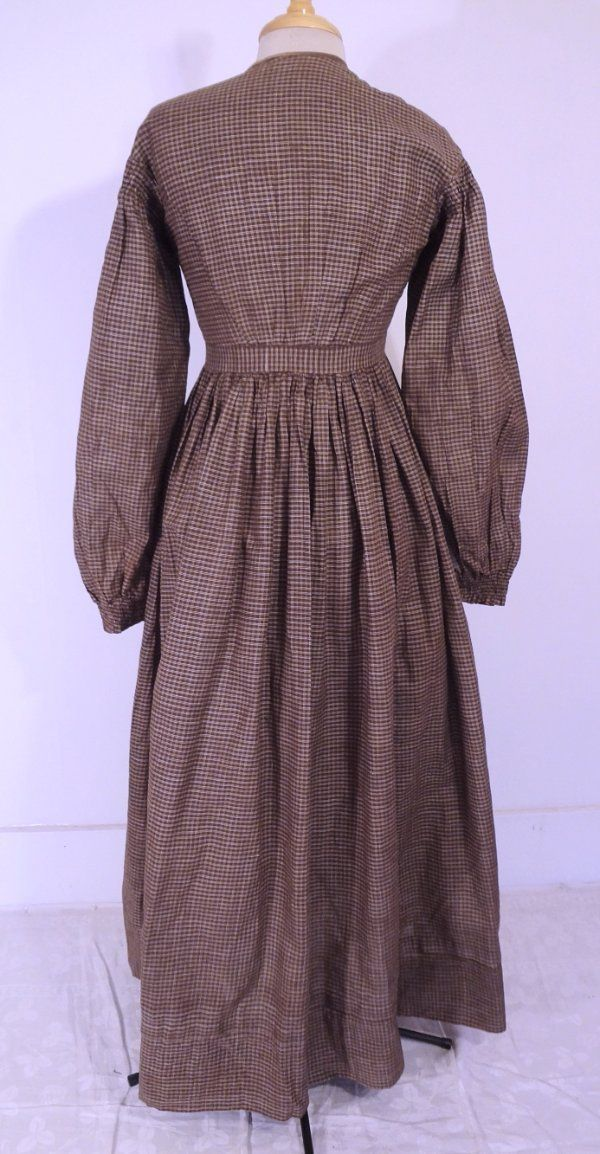 "Antique 19th c. Victorian Chocolate Brown Cotton Dress; eBay seller weaitsatvintage; front hook & eye closure; smocking at each sleeve; skirt tightly gathered; bust: 34""; waist: 24""; length: 52"""