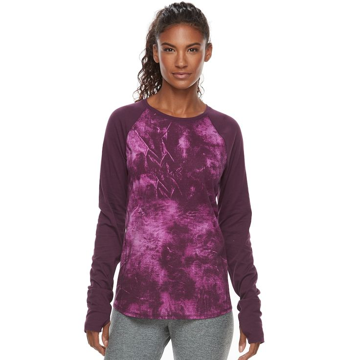 Women's Tek Gear® Raglan Long Sleeve Tee, Size: Xl Long, Drk Purple