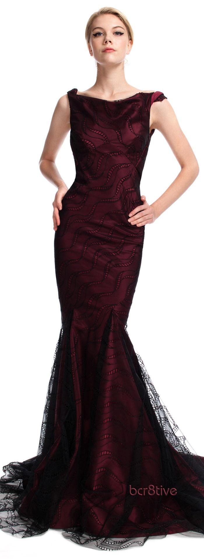 #Zac Posen Bateau Neck Mermaid Evening Gown Pre-Fall RTW 2013