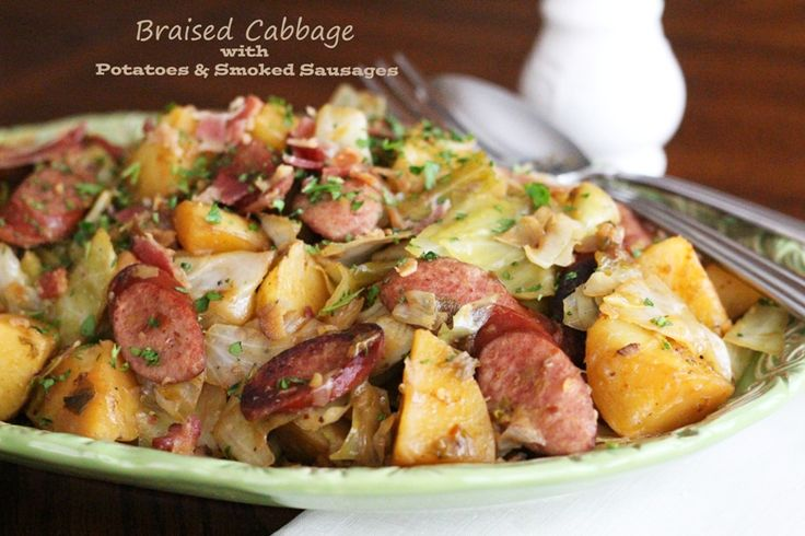 Braised Cabbage With Potatoes And Smoked Sausages | Recipe | Braised ...