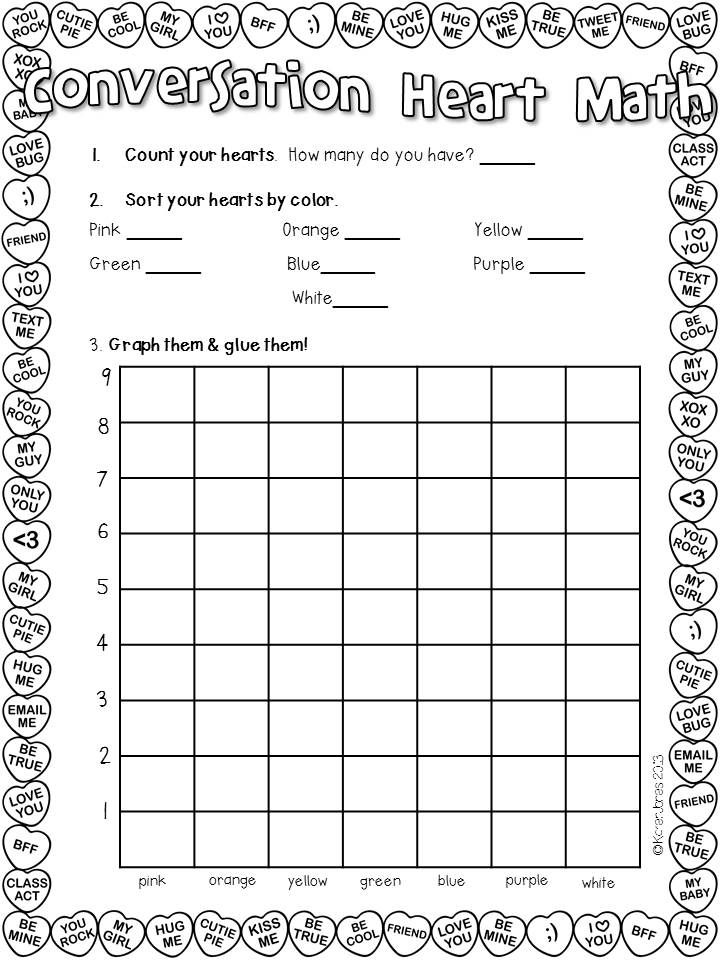 My kids will LOVE candy heart graphing! Lots of great Valentine centers for 1st grade. $