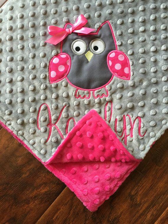 Personalized Baby Blanket Owl Baby Blanket Woodland Nursery