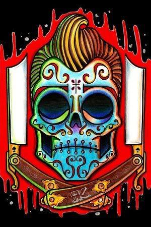 Rockabilly sugar skull tattoo design