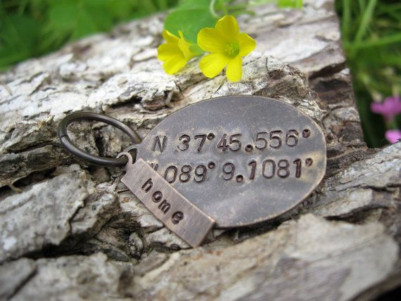 $15 Custom Stamped GPS Keychain. Perfect Valentines Gift for your significant other. A sneaky way to be sentimental without his/her friends knowing. Coordinates can include: where you met, were married, had your children, or just about anywhere else you can think of. Product also comes with a small tag that can be customized with a date, name, or short message.