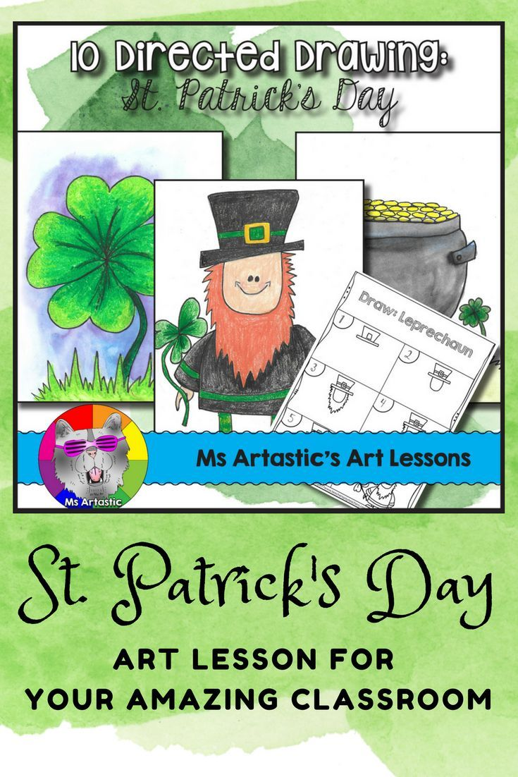 St. Patrick's Day Directed Drawing for your Classroom! Get set for St. Patrick's day with 10 Directed Drawing Lessons for your students. This comes with a coloring title page, 10 step-by-step drawing pages, and a blank boarder page for students to draw on