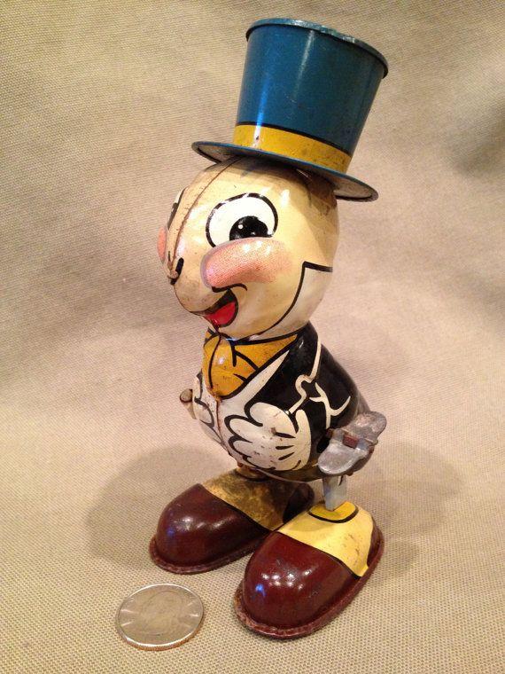 *1950's Jiminy Cricket Disney Tin Litho by TrashAngelTreasures, $160.00