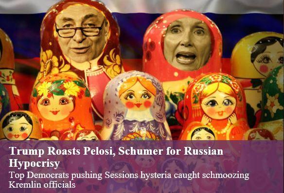 Trump Roasts Pelosi, Schumer for Russian Hypocrisy - http://conservativeread.com/trump-roasts-pelosi-schumer-for-russian-hypocrisy/