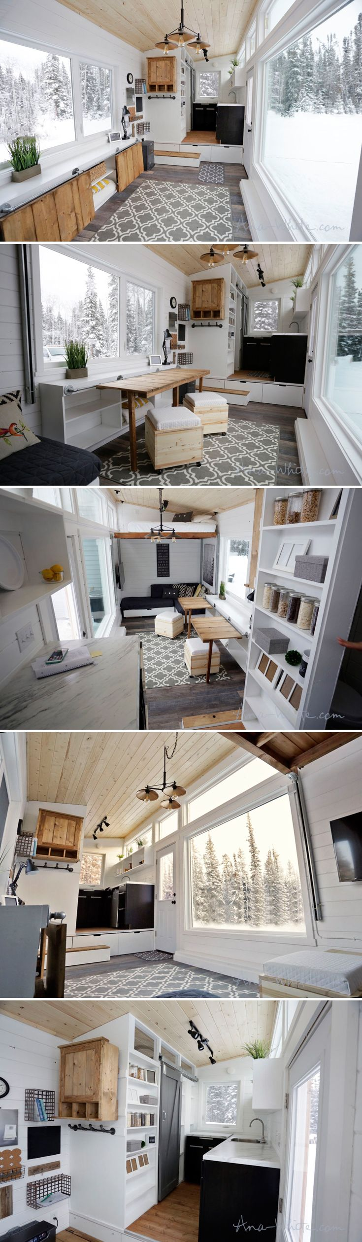This open concept tiny house from Ana White has all sorts of hidden storage space and multifunction furniture. The rustic modern 24-foot tiny home was designed and built by Ana and her husband in Alaska.