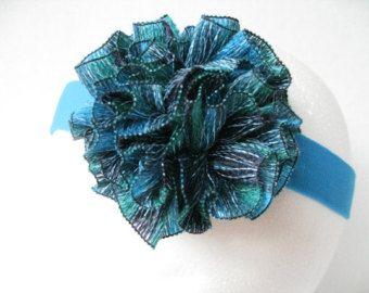 Sashay yarn flower | Women or teen turquoise sashay yarn flower headband ...