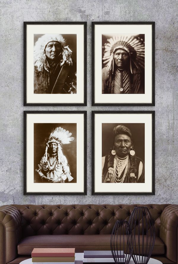 INDIAN CHIEFS - Set of 4 Premium Framed Art by MINDTHEGAP