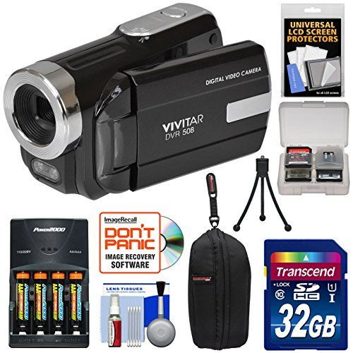 awesome Vivitar DVR-508 HD Digital Video Camera Camcorder with 32GB Card + Batteries & Charger + Case + Tripod + Kit