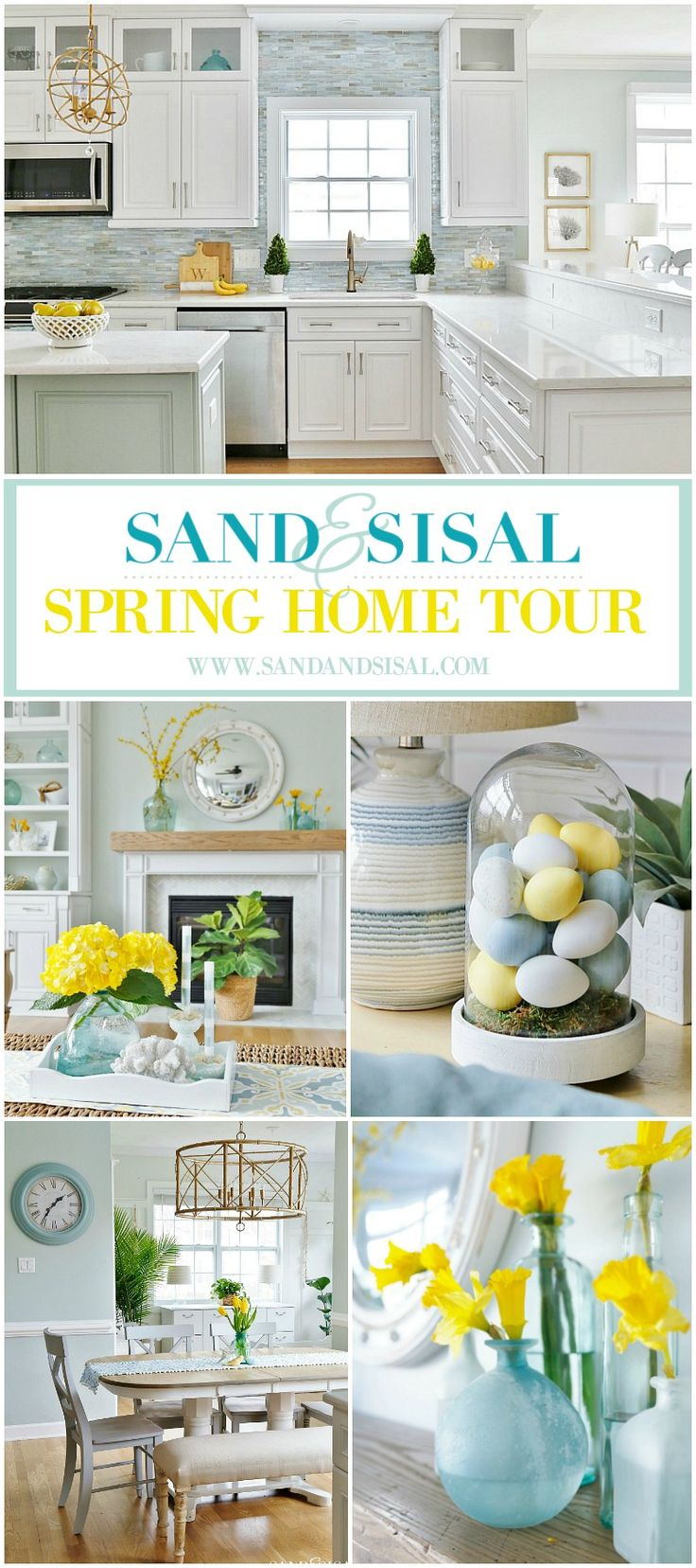 Sand & Sisal Spring Home Tour - LOVE it, yellow hydrangeas and all!