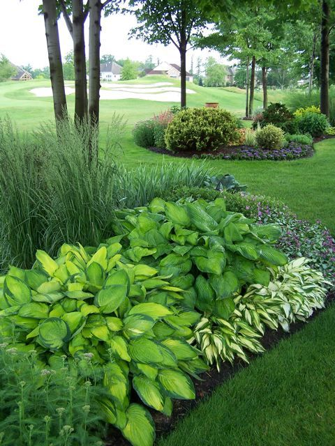 Good use of Hosta.  Vary color, size for nice effect.