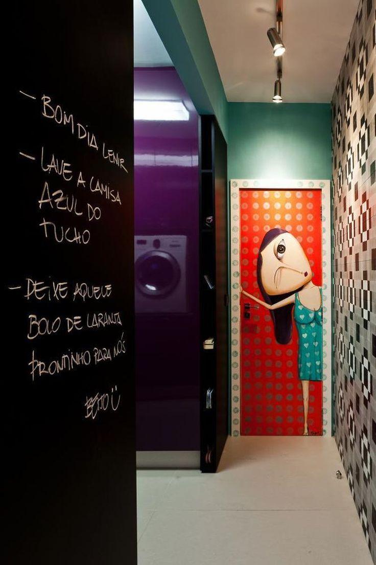 ADESIVO na porta -'Outros Ambientes Apartamento Beira-Mar Norte Juliana Pippi Viva Decora - 70628'