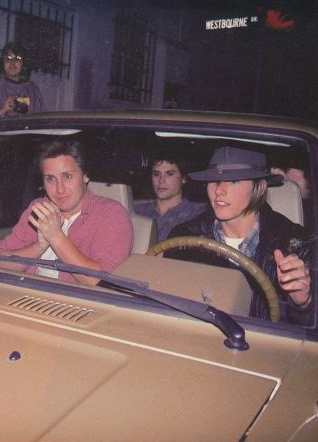 "Emilio Estevez, Rob Lowe & Tom Cruise (driving) while filming ""The Outsiders!"""