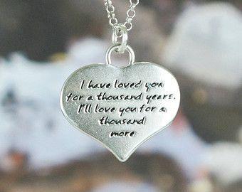 LOVE Quote Heart Shape Pendant Necklace (Chain Length Option)