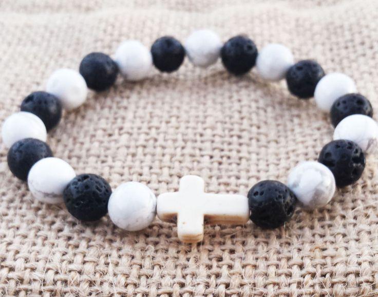 CROSS Bracelet Howlite Bracelet Black And White Bracelet Rosary Catholic Christian Bracelet Gifts For Him Gifts For Her Religious Gifts