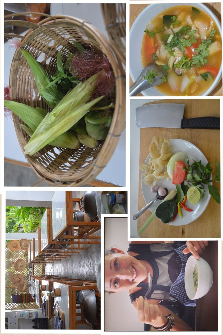 Thai cookery class collage