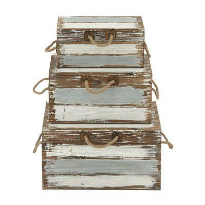 Woodland Imports 48569 Antique Style Wood Rope Trunks (set of 3)